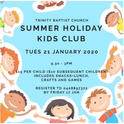 Holiday Kids Club flier Jan2020